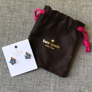 NWT Blue and Gold Kate Spade Turtle Earrings